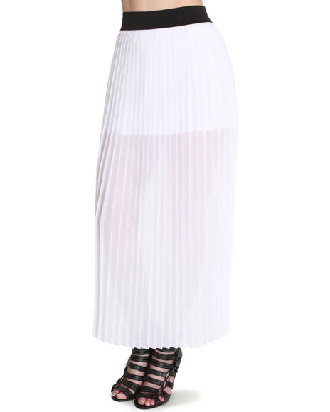 Fashion Lab White Sun Valley Pleated Maxi Skirt