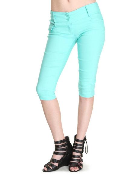 Fashion Lab - Women Green,Teal Kim 2-Button Capri
