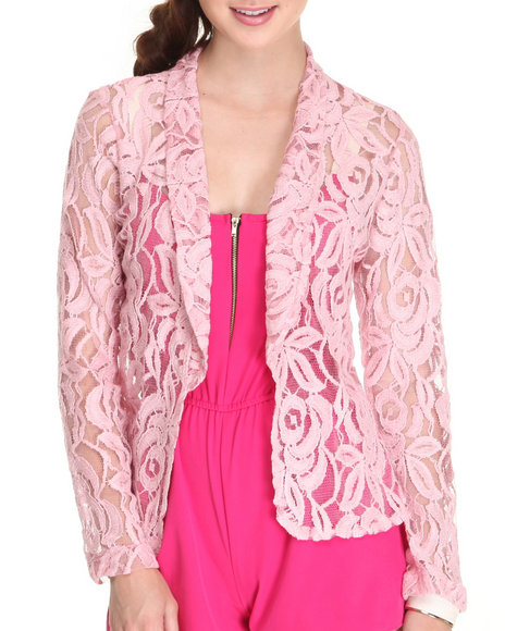 Fashion Lab - Women Pink Crown Floral Crochet Blazer