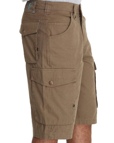 Pelle Pelle Men Khaki Twill & Plaid Cargo Shorts