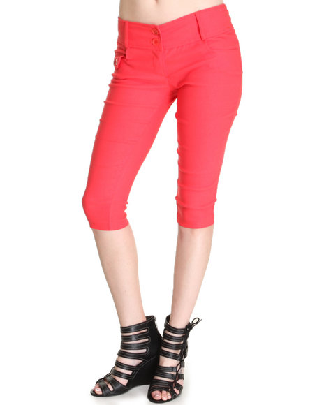 Fashion Lab - Women Dark Pink Kim 2-Button Capri