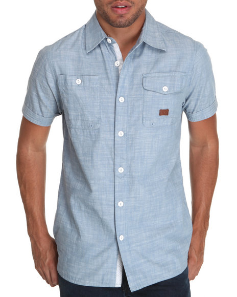 Parish Light Blue New World S/S Linen Button-Down