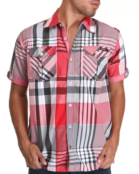 Enyce Men Red Noel S/S Button-Down