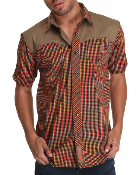 Pelle Pelle Men Brown S/S Twill Yoke Plaid Rollup Button Down