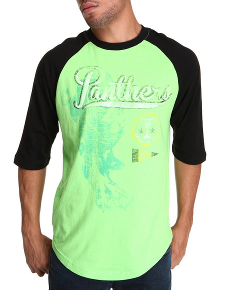 Pelle Pelle Men Lime Green 3/4 Sleeve Panthers Tee