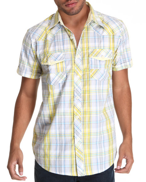 Basic Essentials Men Yellow Raza Plaid Short Sleeve Woven Shirt