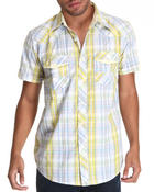 Button-downs - Raza Plaid Short Sleeve Woven Shirt
