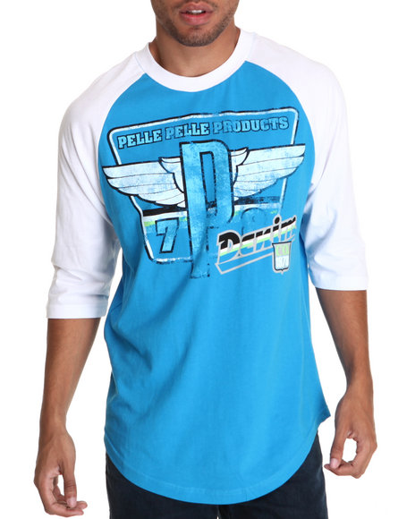 Pelle Pelle Men Blue Sleeve Winged Tee
