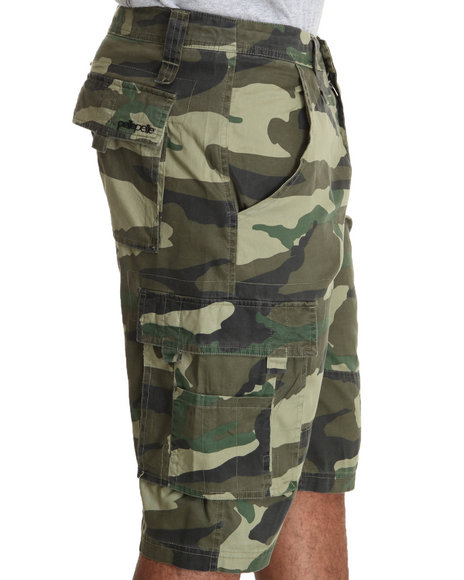 Pelle Pelle Men Green Pelle Camo Cargo Shorts
