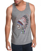 Junk Food - Grateful Dead Indian Skull Tri Blend Tank Top