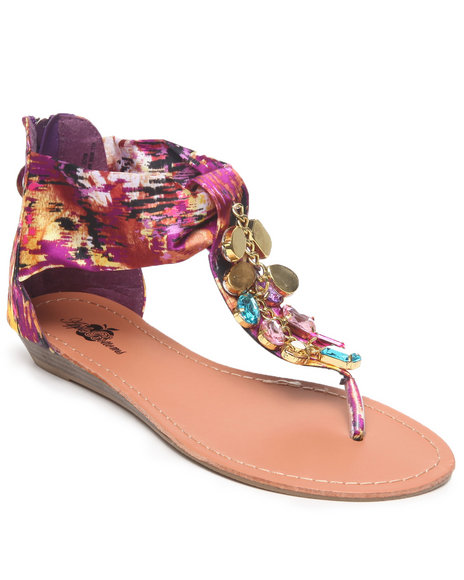 Apple Bottoms Women Purple Printed Jewel Trimmed Sandal