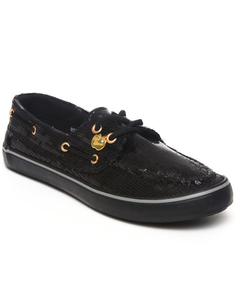Apple Bottoms Women Black Bonina Sequin Deck Shoe