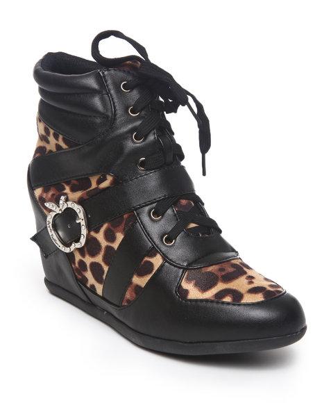 Apple Bottoms Women Animal Print Juno Buckle Animal Trim Wedge Sneaker