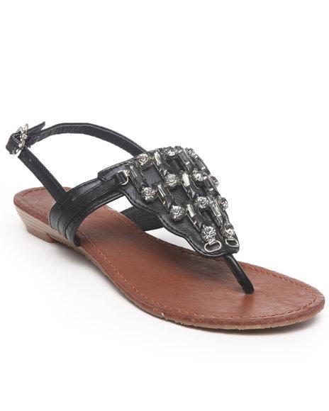 Apple Bottoms Women Black Senna Jeweled Wedge Sandal