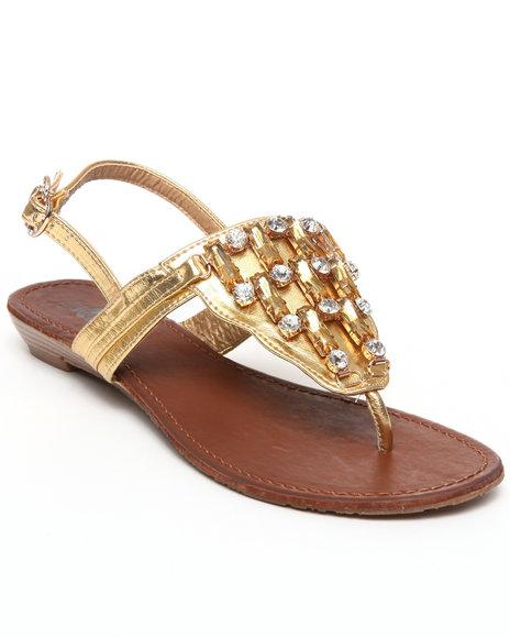 Apple Bottoms Women Gold Senna Jeweled Wedge Sandal