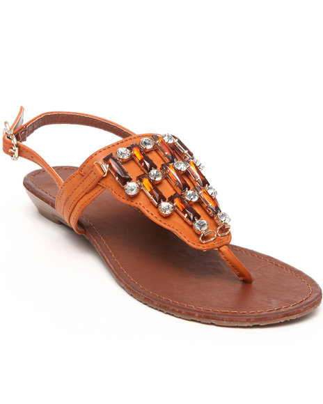 Apple Bottoms Women Tan Senna Jeweled Wedge Sandal