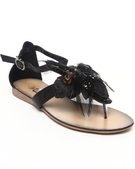 Apple Bottoms Women Black Feather Trim Sandal