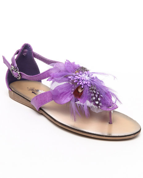 Apple Bottoms Purple Feather Trim Sandal