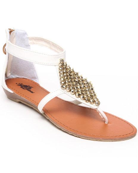 Apple Bottoms Women White Sinnia Studded Trim Thong Sandal