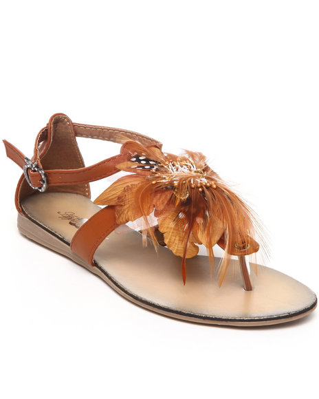 Apple Bottoms - Women Tan Feather Trim Sandal