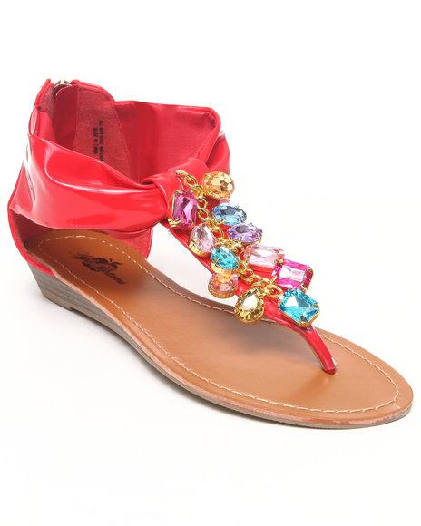 Apple Bottoms Women Red Patent Beaded Thong Sandal