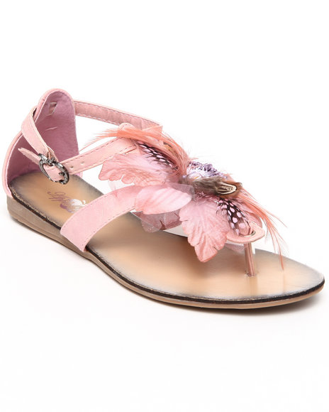 Apple Bottoms - Women Pink Feather Trim Sandal - $12.99