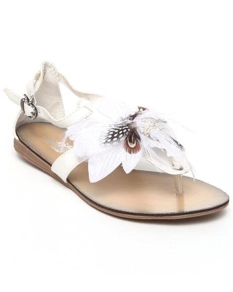 Apple Bottoms Women White Feather Trim Sandal