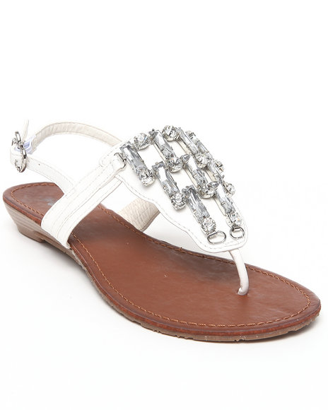 Apple Bottoms Women White Senna Jeweled Wedge Sandal