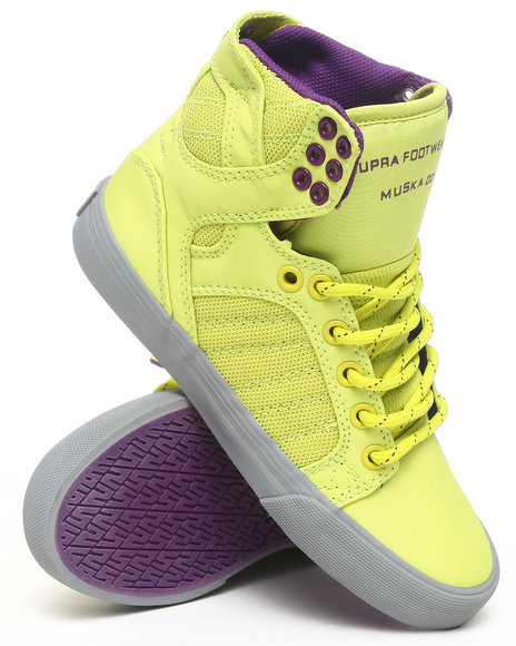 Supra Yellow Skytop Yellow Mesh Purple Lined Hightop Sneakers