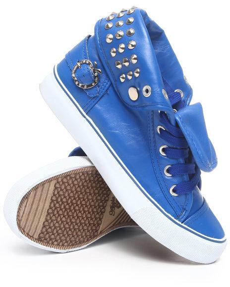 Apple Bottoms Women Blue Benson Vegan Leather Studded Sneaker
