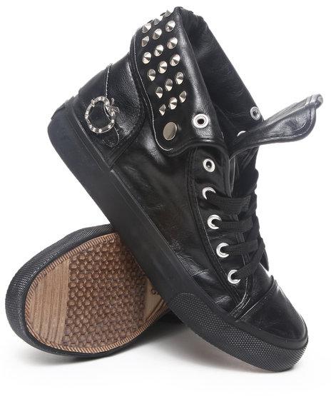 Apple Bottoms Women Black Benson Vegan Leather Studded Sneaker