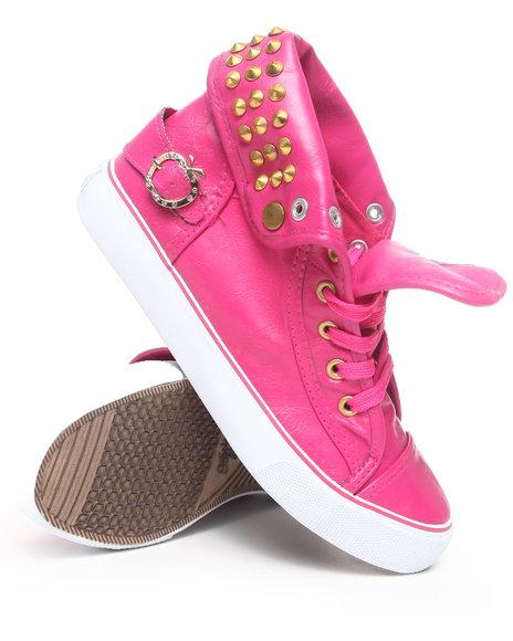 Apple Bottoms Women Pink Benson Vegan Leather Studded Sneaker