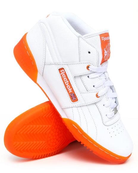 Reebok Men Orange,White Workout Mid R12 Ice Bottom Sneakers