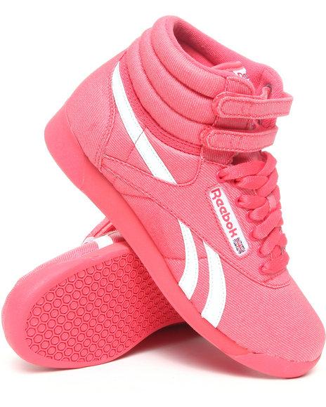 Reebok Women Red Freestyle Hi Txt Denim Sneakers