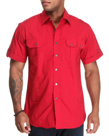 Basic Essentials Men Red Short Sleeve Woven Shirt