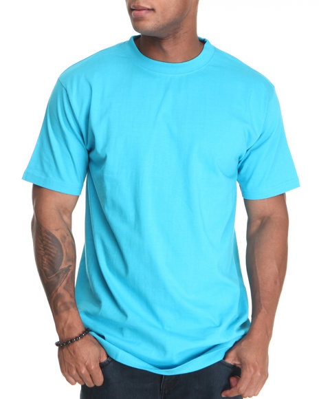 Basic Essentials Men Teal Crew Neck Tee