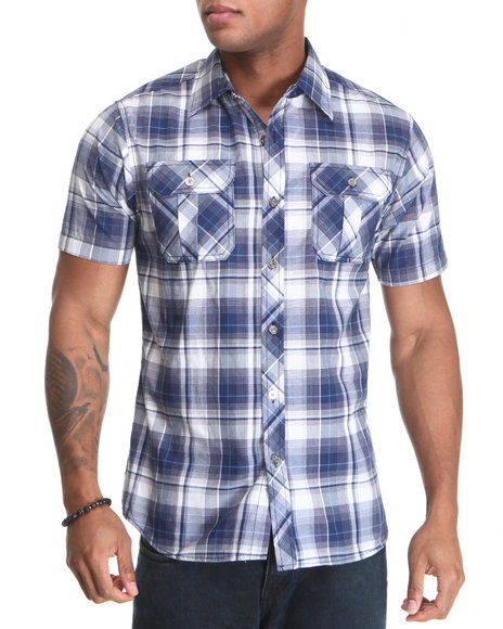 Basic Essentials Men Dark Blue,White Short Sleeve Plaid Woven Shirt