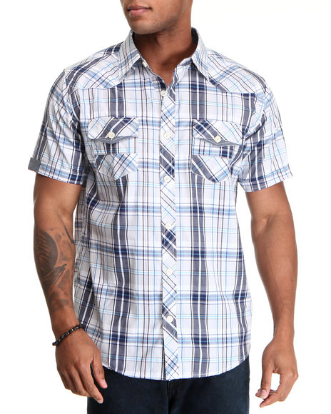 Basic Essentials Men Blue Raza Plaid Short Sleeve Woven Shirt