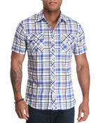 Button-downs - Short Sleeve Plaid Woven Shirt