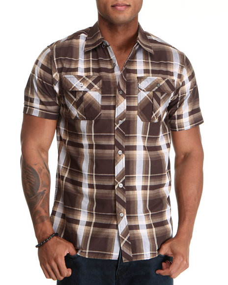 Basic Essentials Men Brown Short Sleeve Plaid Woven Shirt