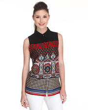 Women - Solid Yoke Mosaic Blouse