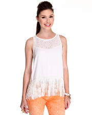 Women - Flap Laser Cut Out Top w/fringes