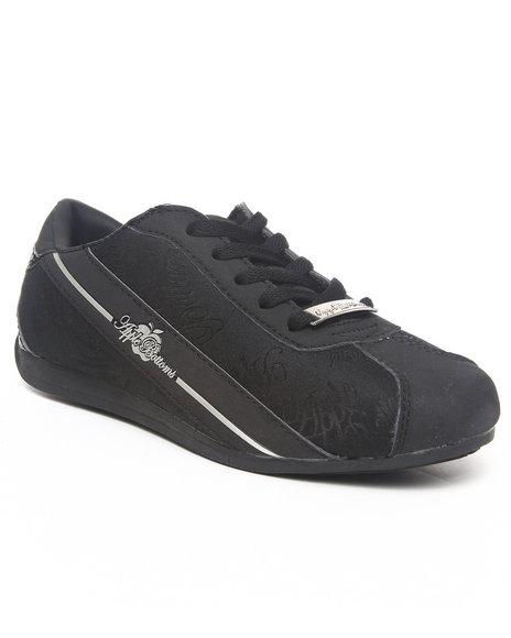 Apple Bottoms Women Black Apple Signature Low Profile Croc Back Patch Sneaker