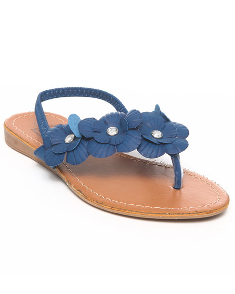 La Galleria Girls T Back Sandal WFlower Blue 13