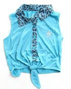 Girls - ANIMAL PRINT TIE FRONT TOP (4-6X)