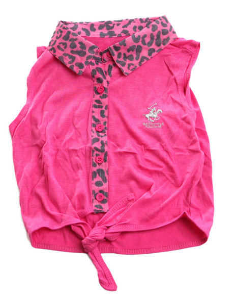 La Galleria Girls Pink Animal Print Tie Front Top (4-6X)