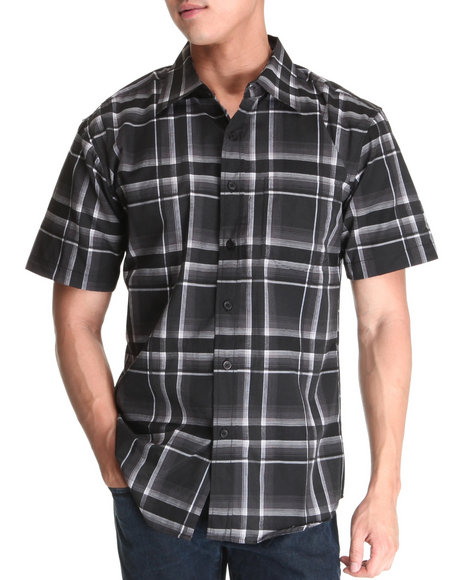 Basic Essentials Men Black Short Sleeve Plaid Woven Shirt