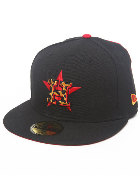 New Era - Men Black Houston Astros Sox Leopard Print Logo Custom 5950 Fitted Hat (Drjays.Com Exclusive)