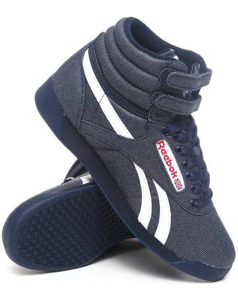 Reebok Women Dark Blue,Navy Freestyle Hi Txt Denim Sneakers