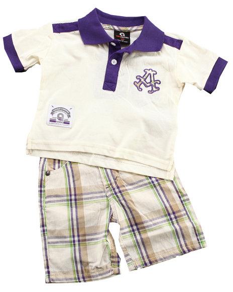 Akademiks Boys Off White,Purple 2 Pc Set - Polo & Plaid Shorts (Infant)
